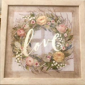 Ashland framed Wall art floral wreath & gold love
